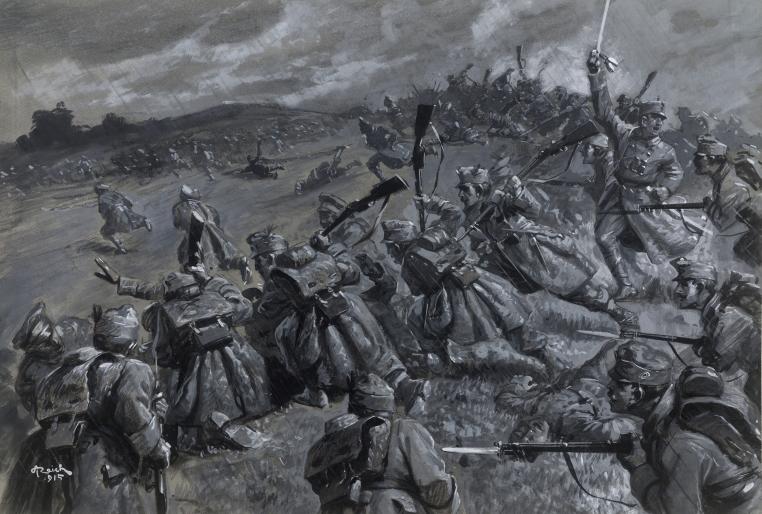 """Adolf Reich (1887-1963): """"Heldentat unseres Landwehr- Infanterie-Regiments Nr. 1"""" Zeichnung für 'Österreichs Illustrierte Zeitung"""". Gouache (Grisaille) auf Papier, signiert, datiert. """"A. Reich (1)15"""""""