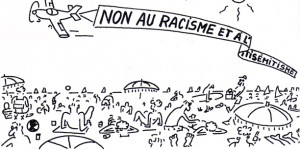 "Legenda vignetta (striscione) :  ""No al razzismo e all'antisemitismo"""